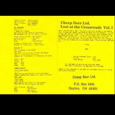 Cheep Beer Ltd. - Lost At The Crossroads Vol. 1 - Booklet
